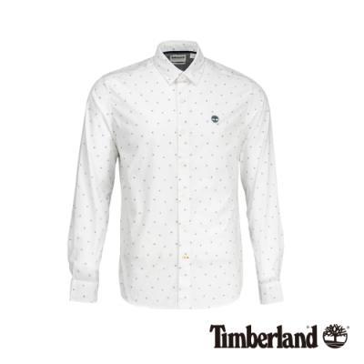 Timberland 男款白色航海印花修身彈性府綢長袖襯衫|A1Y6B