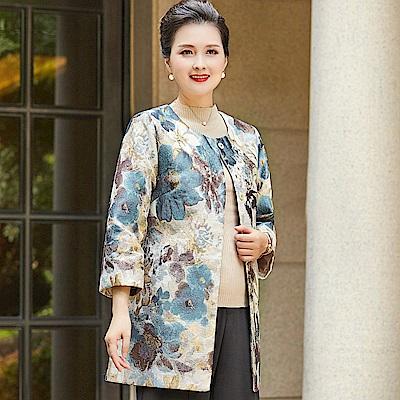 多彩蝴蝶花朵刺繡緹花外套L~ 5 XL(共二色)-理子時尚