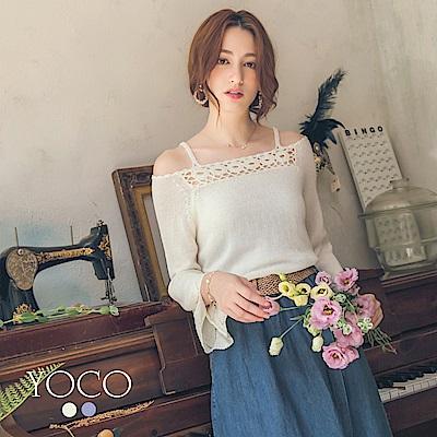 東京著衣-yoco 優雅美人露頸針織上衣-S.M.L(共二色)