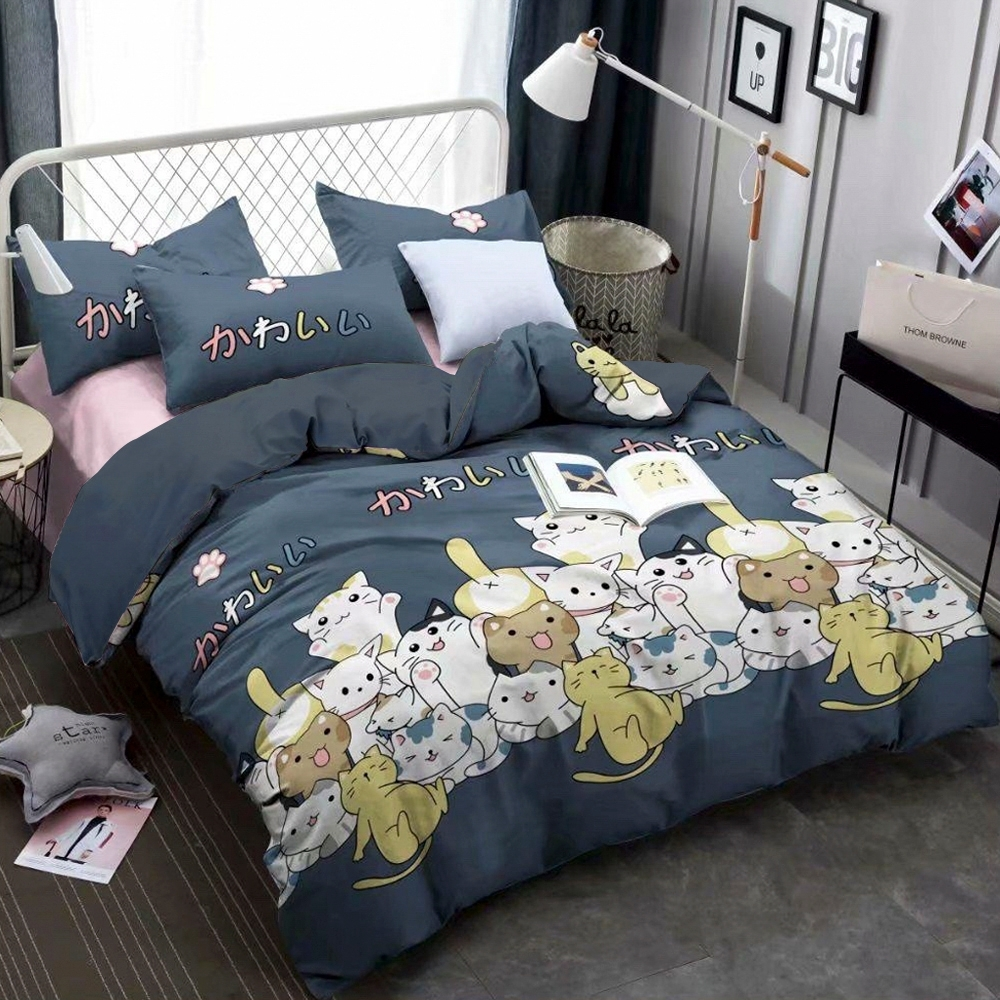A-ONE 雪紡棉 雙人床包/枕套三件組-貓唱歌