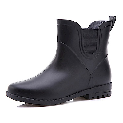 韓國KW美鞋館-簡約隨興防水輕量名牌可拆卸長筒雨鞋 黑