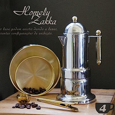 [時時樂限定][Homely Zakka]新古典裝飾鍍金304不鏽鋼摩卡壼 -200ml