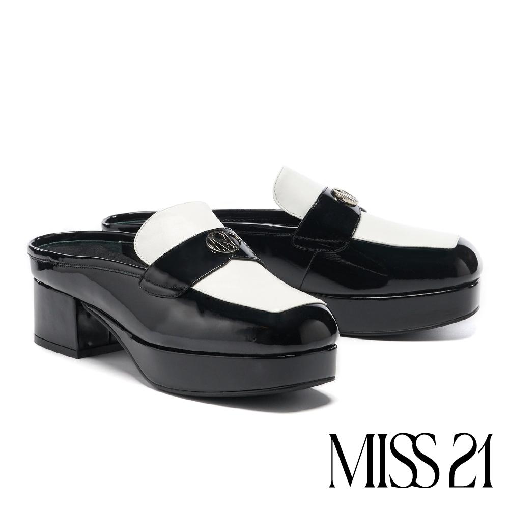 拖鞋 MISS 21 復古時髦LOGO撞色大方頭穆勒高跟拖鞋-黑白