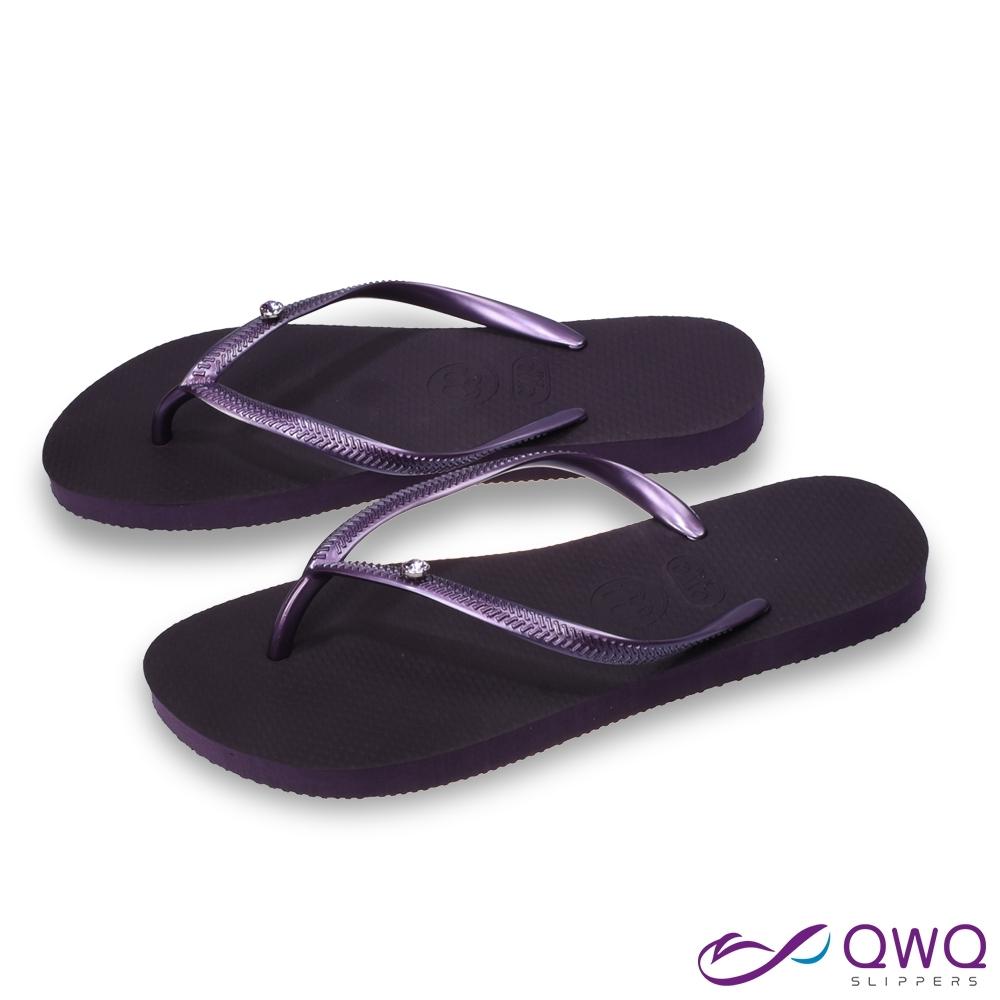 QWQ 女款水鑽夾腳拖鞋-鞋帶保固-防滑耐磨-質感拖鞋-紫色圓面小鑽-星空紫(AAVP)