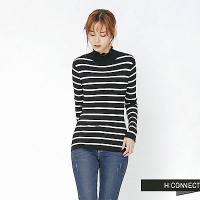 H:CONNECT 韓國品牌 女裝-捲邊條紋合身上衣-黑