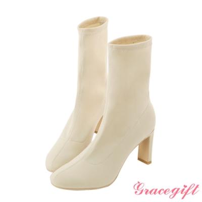 Grace gift X 許允樂-聯名視覺詐欺人氣襪靴 杏