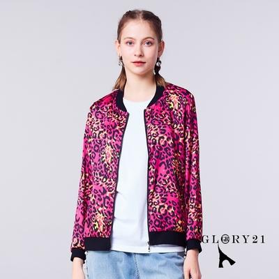 【GLORY21】新品-炫彩豹紋法系拉鍊式外套-桃紅