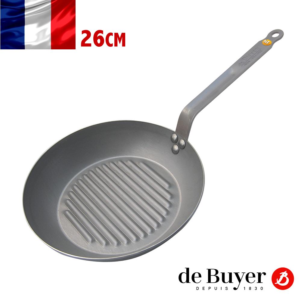 法國de Buyer畢耶 原礦蜂蠟系列-單柄直紋牛排鍋26cm