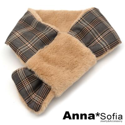 AnnaSofia 日系雙面仿獭兔毛穿叉款 保暖圍脖套圍巾(灰格紋-駝系)