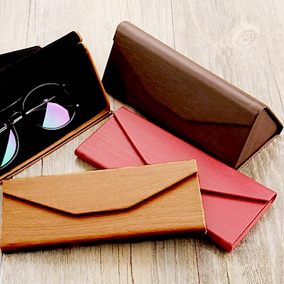 E-dot 三角防木紋磁扣摺疊眼鏡收納盒(三色)