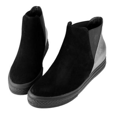 Robinlo 前衛個性拼接牛麂皮平底短靴 黑色