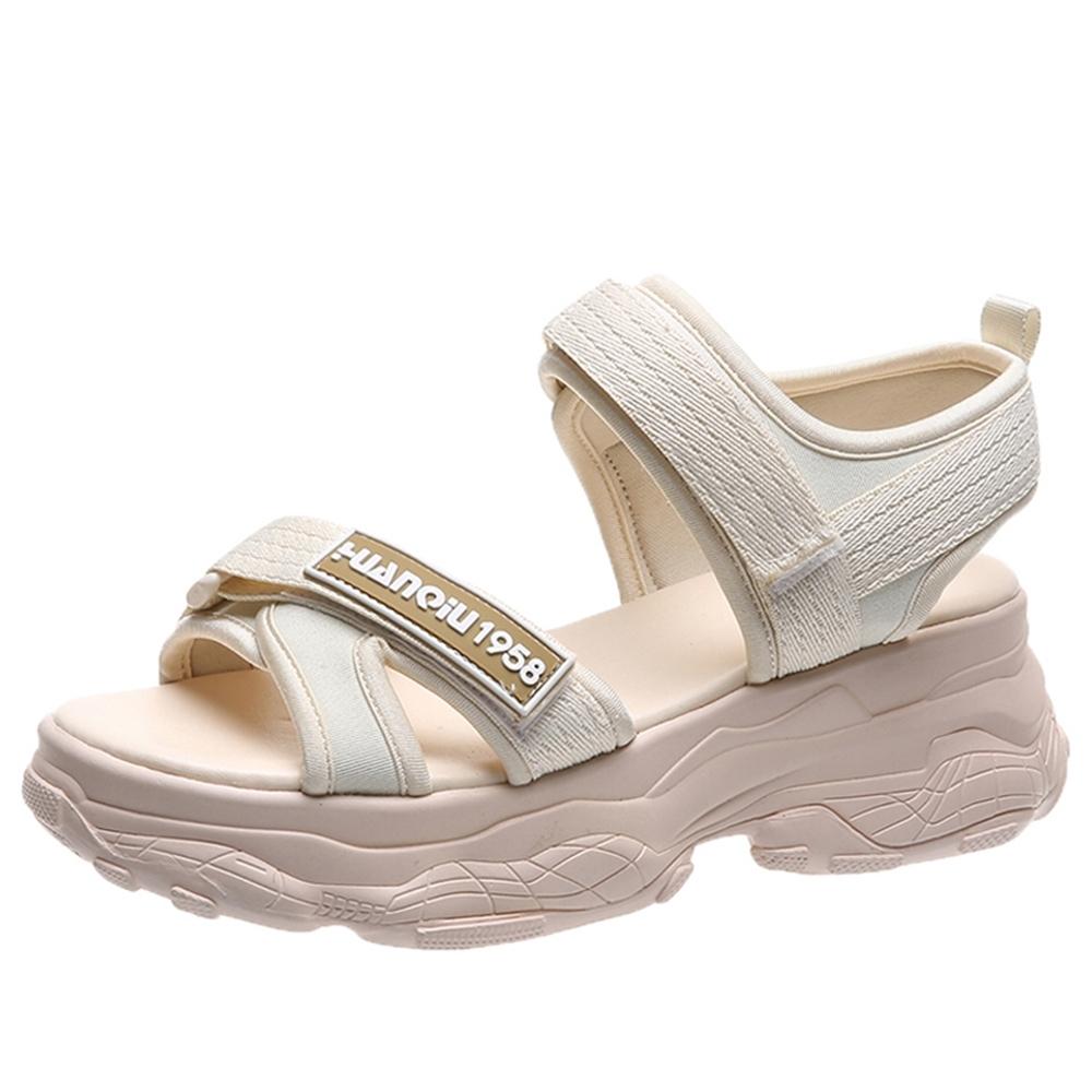 韓國KW美鞋館 獨家價韓國設計特殊運動休閒涼鞋-米