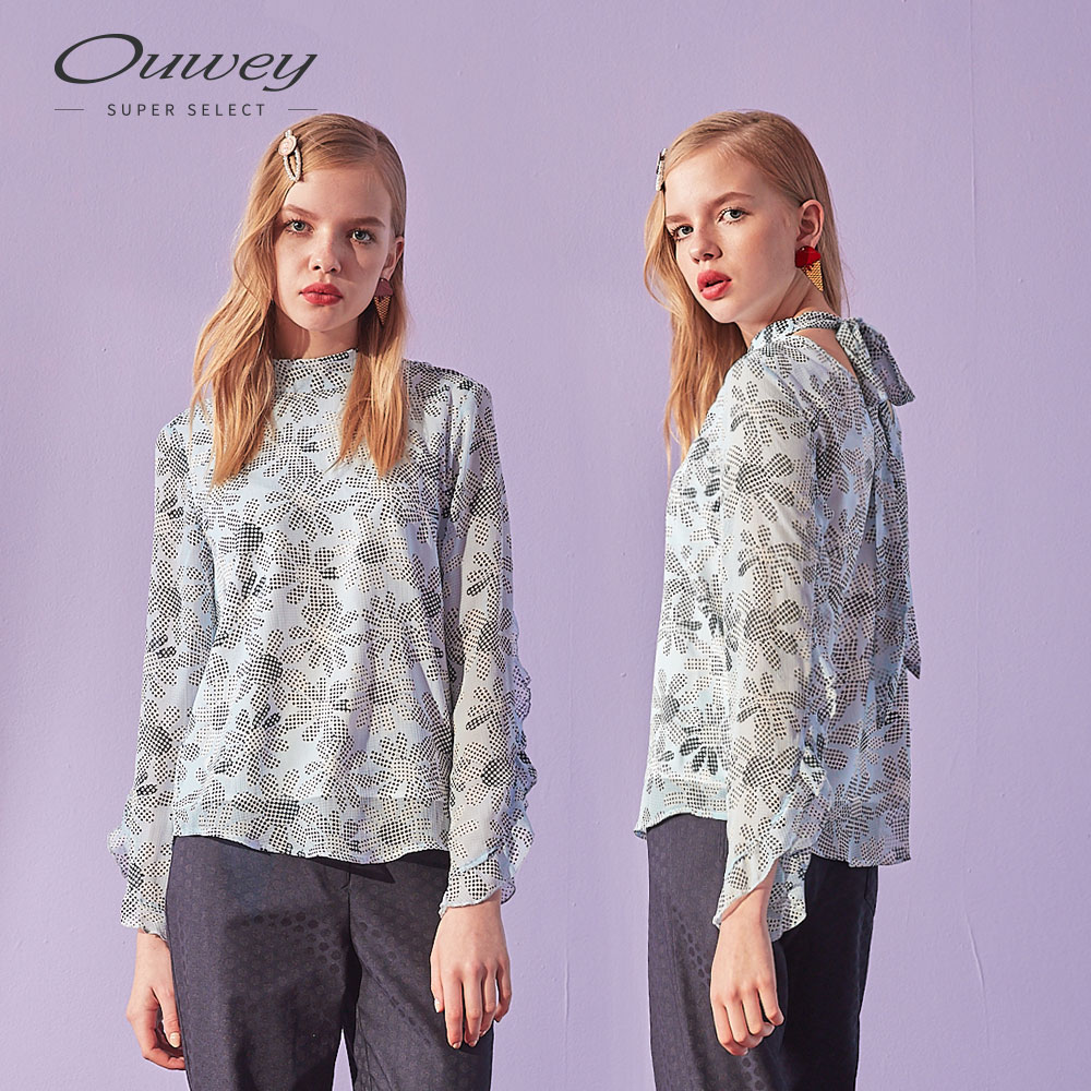 OUWEY歐薇 花朵印花後綁帶上衣(藍)