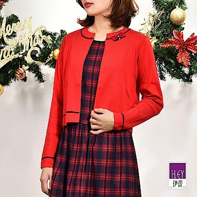 ILEY伊蕾 蝴蝶結棉混紡針織短版小外套(紫/紅)
