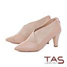 TAS 曲線壓紋拼接彈力絨布高跟踝靴–淺卡其