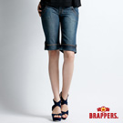 BRAPPERS 女款 新美腳二代系列-彈性五分反折褲-藍