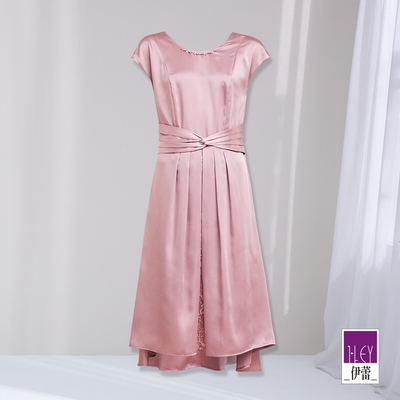 ILEY伊蕾 輕奢感緞面光澤小包袖洋裝(粉)1212087370