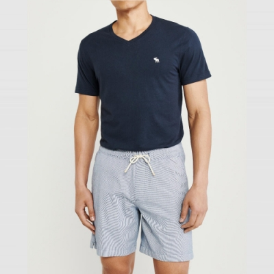 麋鹿 AF A&F 經典V領電繡麋鹿素面短袖T恤(BONL)-深藍色