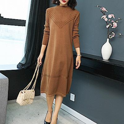 純色立領V斜紋針織寬鬆毛衣裙洋裝L~4XL(共三色)-糖潮