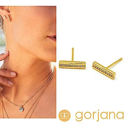 GORJANA 鑲鑽平衡骨耳環 簡約金色耳環 Nia Shimmer Bar Studs