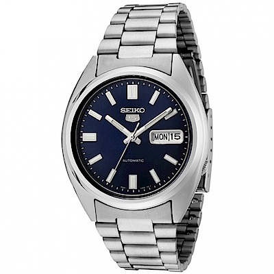 SEIKO精工 紳士雅爵夜光5號自動上鍊機械腕錶(SNXS77K1)-藍/37mm