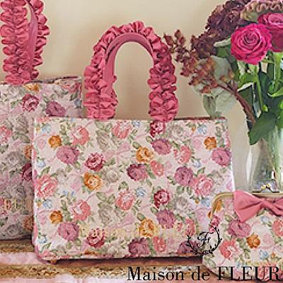 Maison de FLEUR  玫瑰花朵荷葉手提包