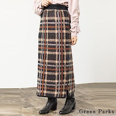 Green Parks 毛呢格紋下擺開叉合身長裙