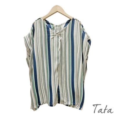 寬鬆V領直條紋雪紡上衣 TATA-F
