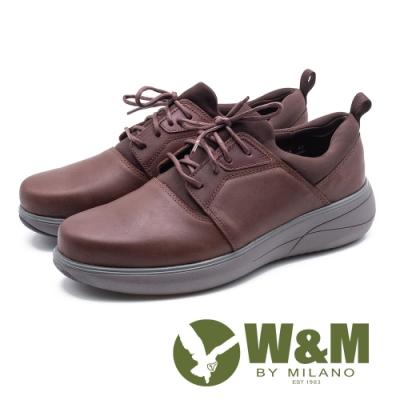 W&M 綁帶休閒運動厚底男鞋-咖(另有黑)