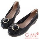 G.Ms. MIT系列-牛皮蝴蝶結楔型小坡跟鞋-黑色