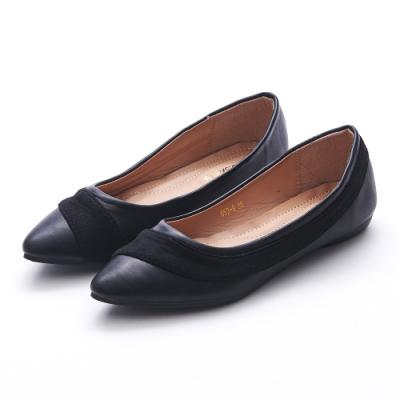 A one  拼接麂絨尖頭平底鞋-黑色