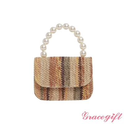 Grace gift-珍珠鍊手提藤編包 條紋