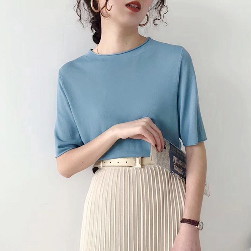ALLK 歐楷 超彈力冰絲針織上衣 共10色(尺寸F 任選) (霧藍色)
