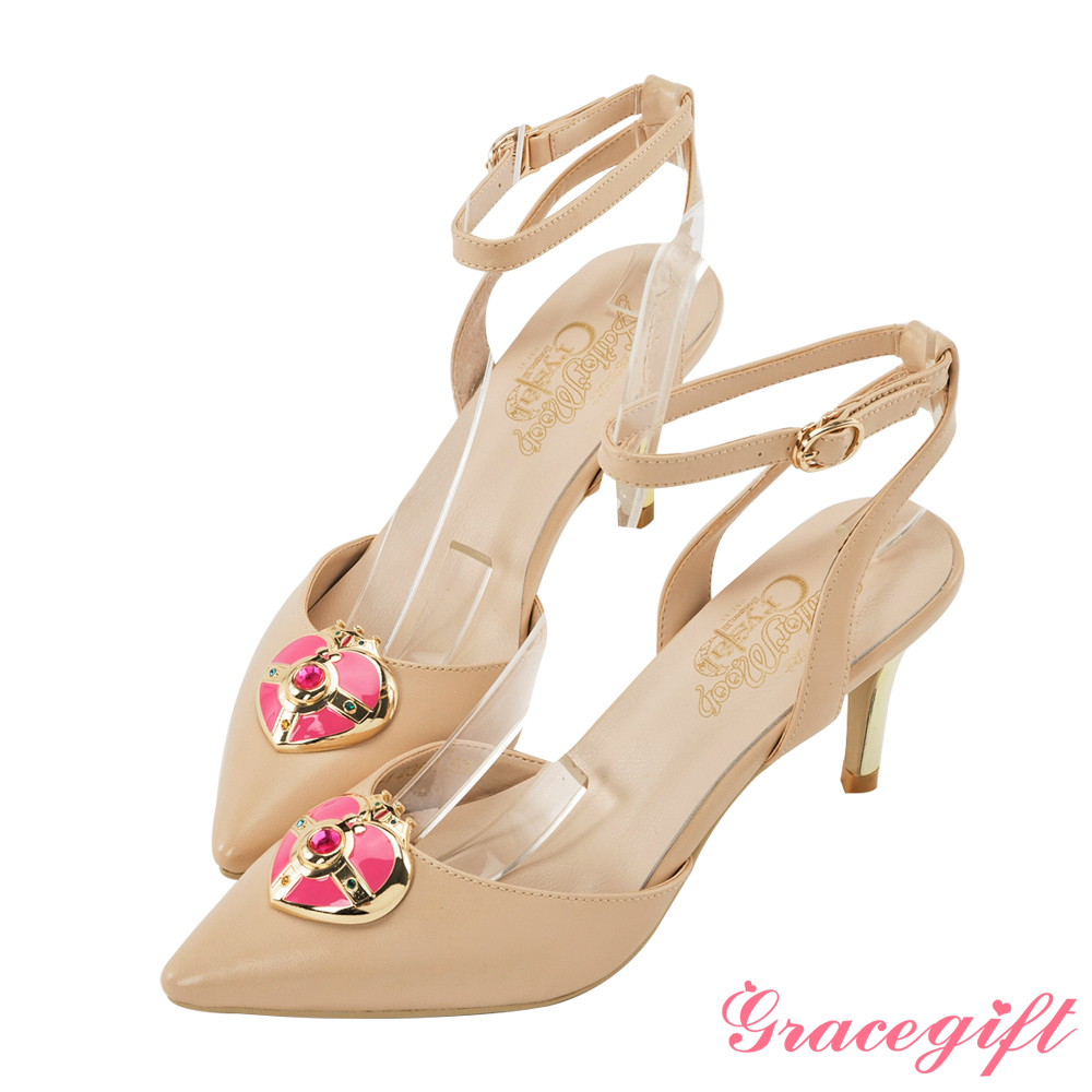 Grace gift-美少女戰士月光心鑽繫帶跟鞋 杏
