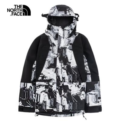 【經典ICON】The North Face北面男女款黑白印花防水透氣衝鋒衣|4R520B5