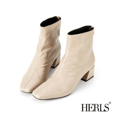 HERLS短靴-素面縫線小方頭後拉鍊粗跟短靴-米灰色