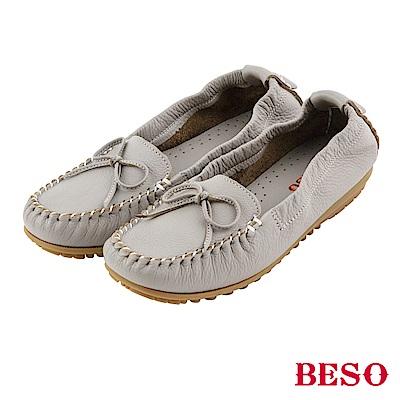 BESO 棉花糖女孩 蝴蝶結鬆緊帶全真皮莫卡辛鞋~淺灰