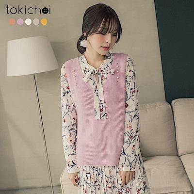 東京著衣 多色氣質全包大V領珠珠毛衣背心(共五色)