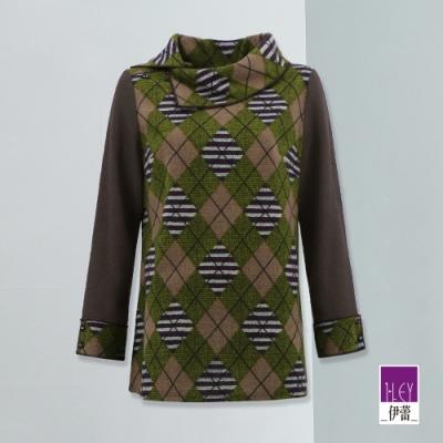ILEY伊蕾 典雅不規則翻領彈性長袖上衣(紫)