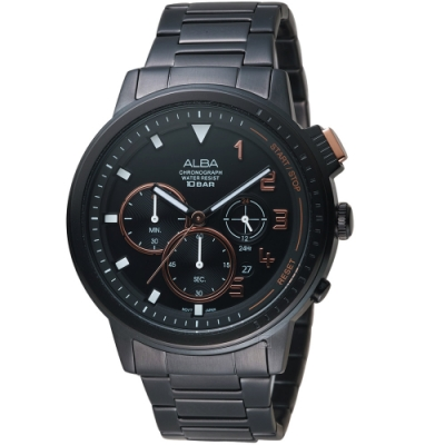 ALBA雅柏街頭潮流計時手錶(AT3F31X1)-黑鋼