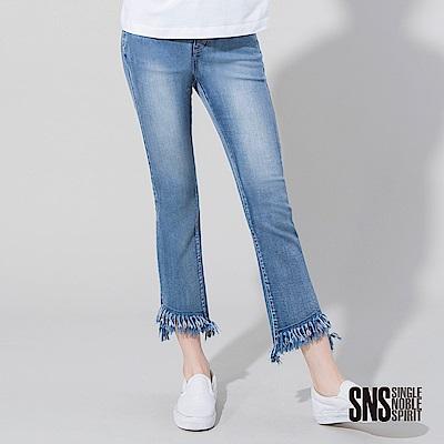 SNS 嬉皮風尚水洗刷白抽鬚牛仔褲(1色)