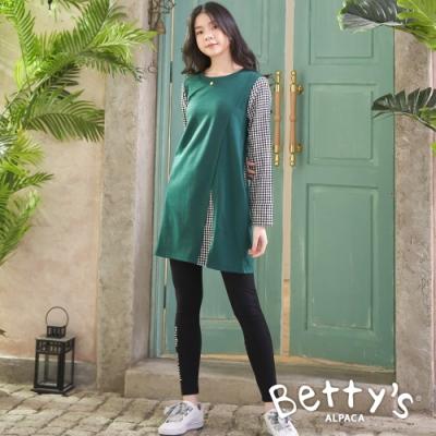 betty's貝蒂思 圓領下襬拼接格紋洋裝(綠色)