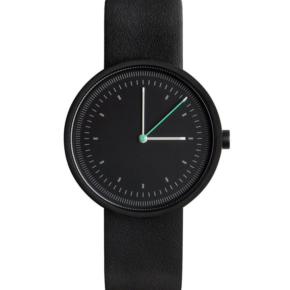 AÃRK 經典時光旅人真皮革腕錶 -質感黑/36mm