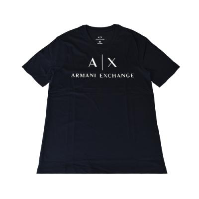 A│X Armani Exchange經典字母LOGO造型純棉短T(XS/S/M/L/深藍x白字)