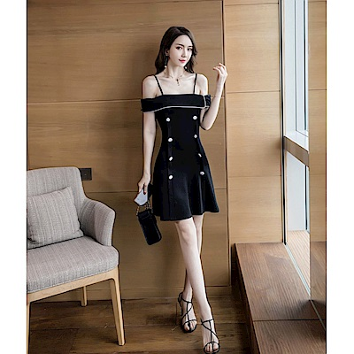 IMStyle 法式吊帶露肩連身洋裝(黑色)
