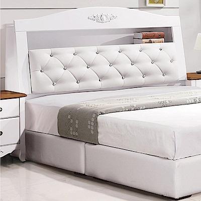 文創集 德雅法式白5尺皮革雙人床頭箱-152x28x112cm免組
