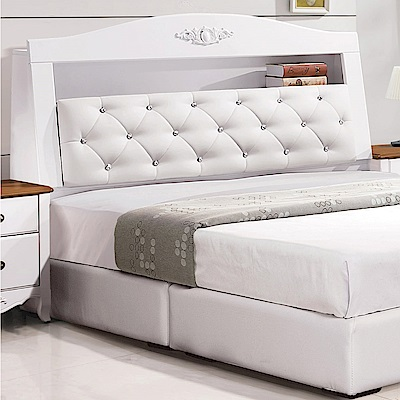 文創集 德雅法式白6尺皮革雙人加大床頭箱-182x28x112cm免組