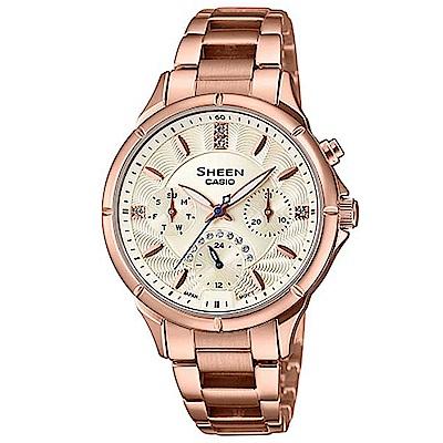 SHEEN 致玫瑰色的妳閃耀水晶腕錶(SHE-3047PG-9A)黃色/41.4mm