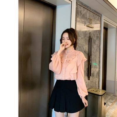 2F韓衣-韓系木耳領荷葉邊造型上衣-新-粉(S-XL)