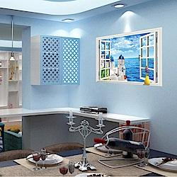半島良品 DIY無痕壁貼-假窗愛情海 AY9234C 60x90cm